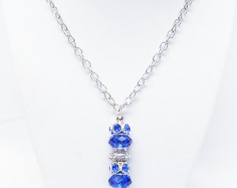 Blue Big Hole Lamp Work w/Blue Rhinestone Bead Pendant Necklace