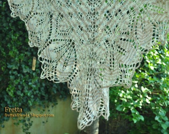 SALE! Beautiful Large Hand Knit Lace Shawl, Shoulder Wrap, Triangular Lace Scarf. Gift for Her