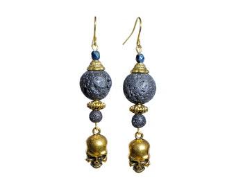 Groovy black lava earrings with skulls