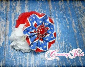 Red, White, Royal Blue Headband, Patriotic Hair Piece, Hair Accessory, Star Stripes, 4th of July Hair Clip, Baby Hairbow, Fabric Flower