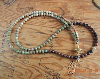 Mala Necklace 108 / Unakite full mala, Healing stones / Buddhist Prayer Beads -  Chakra 108 bead Mala -  wrist Mala / Womens tassel Necklace