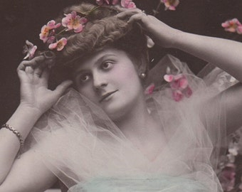 Edwardian Lady With A Veil And Flowers Vintage Photo Postcard