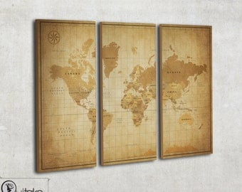 Vintage world map canvas - Rustic world map print - world travel map - retro style map on 3 panel canvas