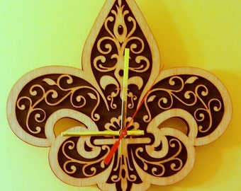 Fleur De Lis,  wooden wall   clock.
