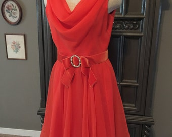 60s Chiffon Miss Elliette Tangerine Party Dress