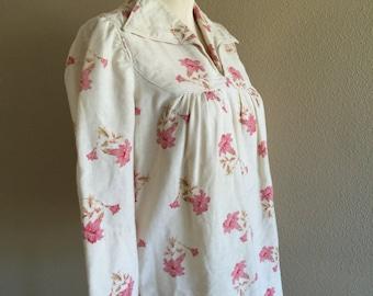 70s Trumpet Flower Cotton Hippie Smock Tunic Shirt