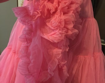 Vintage Layered Tiered and Ruffled Nylon Hot Pink Petticoat slip