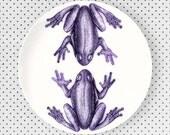 Frogs, Tilandsia Purple frogs melamine plate