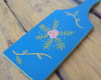 Small Decorative Wooden Paddle - Handpainted Kitchen Decor - Boho Bread Board - Wood Butter Paddle - Bohemian Folk Art - Wall Cutting Board