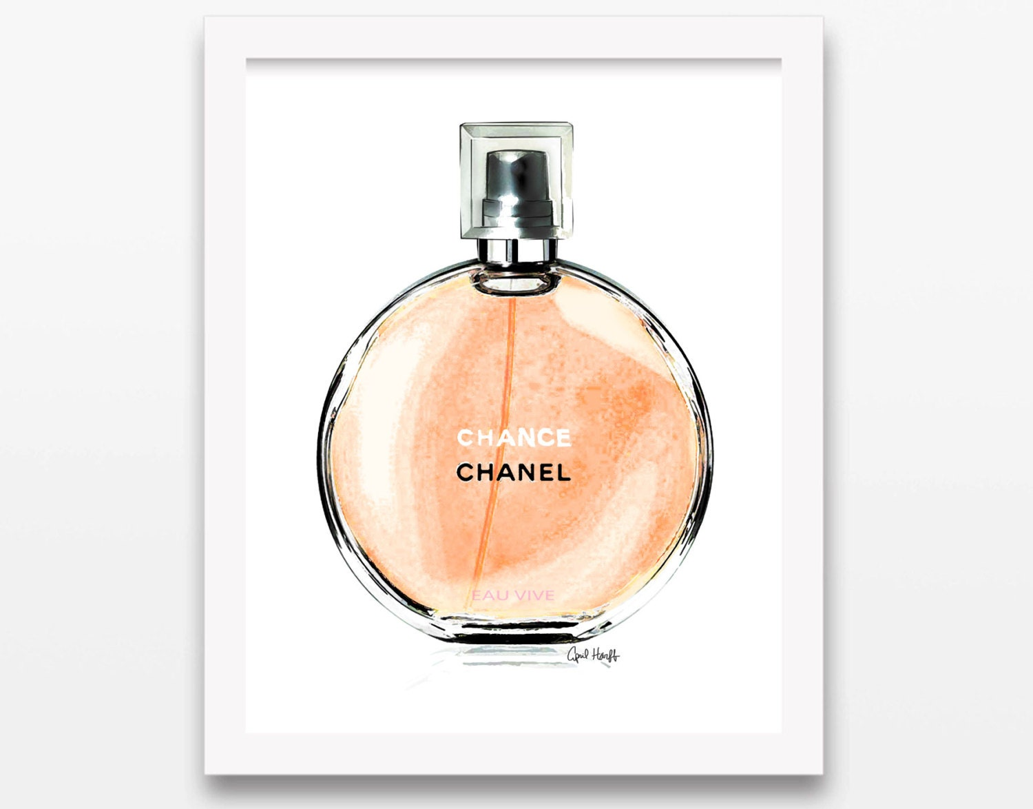 new coco chanel chance orange perfume print by aprilmarionart