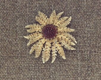 Vintage Signed Sarah Coventry Flower Brooch/ 1960s