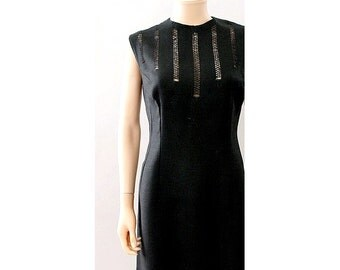 1950 black linen DRESS OPEN LACE on the bust  size large