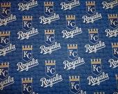 KANSAS CITY ROYALS  Mlb  Baseball   Fabric 1/2  Yard  New Square Designs  100% Cotton Brand New Colors Design