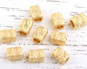 Gold Rectangular Cube Bead Spacer with Large Hole, 10 pcs // GB-146