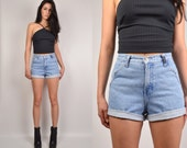 Vintage High Waisted Denim Cuffed Shorts medium