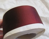 """Antique French Dark Burgundy Double Faced Satin Ribbon 2"""" Inch 55mm Wide - By the YARD (17B)"""