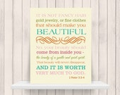 ONSALE Bible Verse Christian Art  Print 1 Peter 3:3-4 Beauty - 11x14 CANVAS PRINTING Available