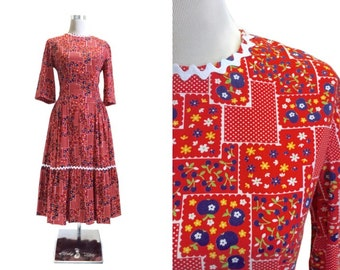 1950's Novelty Print Dress - Red 50's Vintage Dress - Square Dance | Patio - Ric Rac Trim - Metal Zipper - Blue Apples Dress
