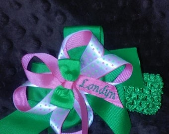 Monogrammed Splash Bow with Headband Attachment