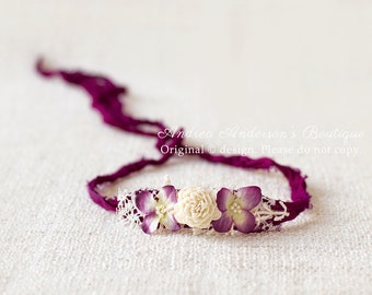 Newborn Infant Baby to Adult size Flower Tieback Halo Headband. Floral Tieback Halo Headband Ready to Ship Photography Prop. UK SELLER.