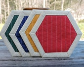 Coasters, Quilted, Hexagons, Assorted Colors, Set of 4, Natural Linen, Red, Navy, Green, Gold, Country Decor, Modern Decor