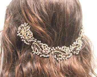 Wedding crown,Bridal hair vine,Wedding headband,Gold hobo halo,bohemian wedding headpiece,Bridal hair vine,Wedding halo,Bridal hair jewelry