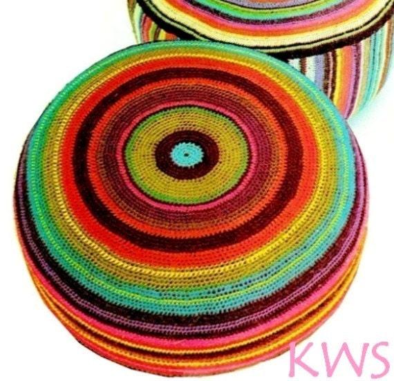 Large Floor Pillow Pattern : Vintage 70s LARGE Floor Pillow PDF Crochet