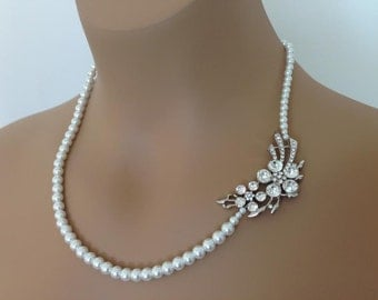 Bridal Pearl and Floral Brooch Necklace Bridesmaid necklace rhinestone necklace Statement Wedding prom formal necklace asymmetrical floral