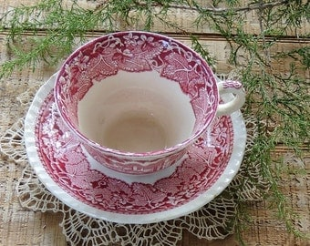 Masons Vista Pink Transferware Tea Cup & Saucer Set, Tea Party, Red Transferware, Downton Abbey Inspired, English Bone China, Ca. 1800's