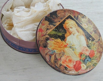Victorian Cottage Style English Roses Candy Tin, Supplies Tin, Metal Round Box, Shabby Cottage Bohemian