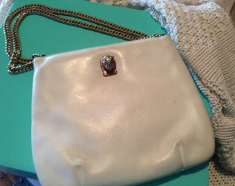 Vintage White Leather Purse with lion clasp & chain