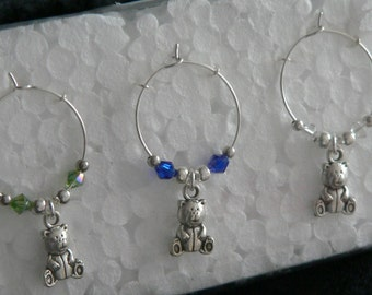 Set of 6 Silver Teddy Bear Wine Glass Charms with multi coloured adjoining beads