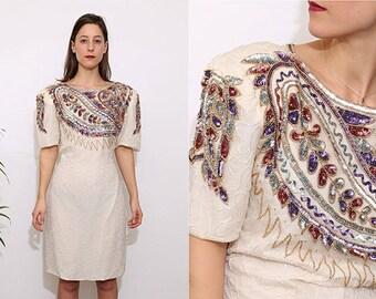 Vintage 80s White Embellished Silk Party Dress. UK 16.