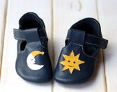 """First Steps leather slippers """"Sun&Moon"""", soft suede sole, velcro fastening, support barefoot walking, sizes EU 16 to 24 - US 2 to 7.5"""