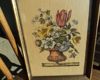 Lovely old floral print/ signed and dated on back/ 1940's/framed in wood/gold tone/under glass