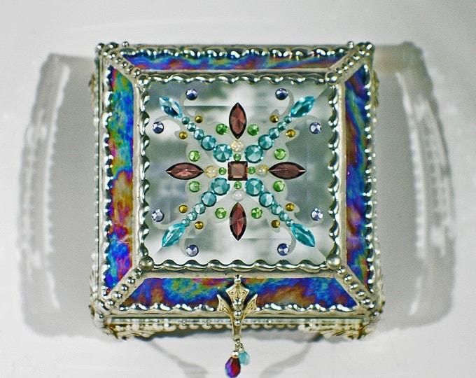 Jewel Encrusted Treasure Box -4x4 Purple Rippled Iridized