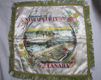 Vintage Souvenir Silk Satin Pillow Cover //  Niagara Falls  // Canada // SHAM SOUVENIR // Vintage Travel