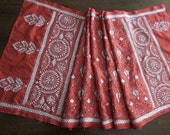 Kantha Scarf/Wrap- coppery red and white 'Alpana'