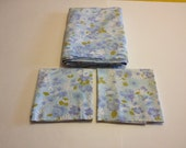 Vintage Blue Floral Flat Sheet and Matching Pair of Pillowcases - Lady Pepperell - 100% Cotton -  Standard Pillow Cases