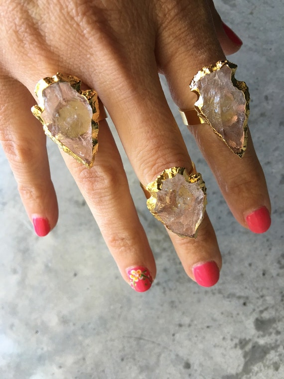 Quartz arrowhead rings