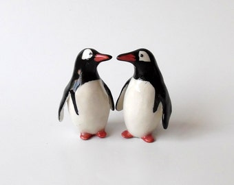 Porcelain Penguins, a Pair of  Miniature Gentoo Penguins, Ceramic Sculpture, Wedding Cake Topper, Anniversary Gift by Eyal Binyamini