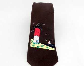 Lighthouse Hand Painted Men's Neck Tie, Made in Italy