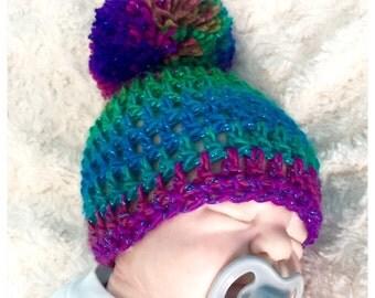 Baby girl pompom hat 0-3 months crochet knitted hippie beanie unique designer sale kids newborn shower gift rainbow multi puffball ooak prop