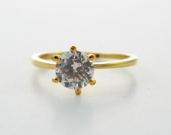 Vintage Faux Diamond Solitaire Ring- Size 7.5