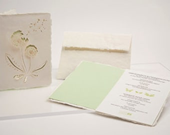 Flower set, 3 cards - handmade paper cards laser cut motif with paper insert and enevelope