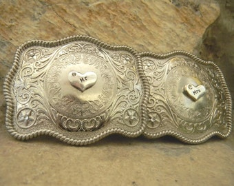 Mr And Mrs Belt Buckles, His and Hers Gifts, Anniversary, Rustic Wedding Gift, Country Western Wedding Gift, Bridal Shower Gift, Fiance Gift