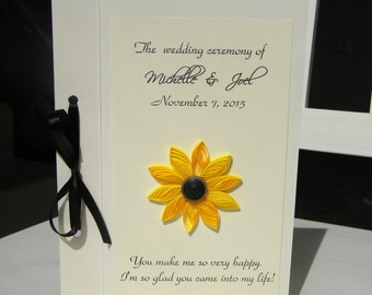 Sunflower wedding program / Rustic wedding program / Yellow flower wedding program / Sunflower program