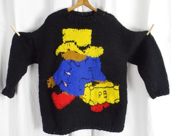 70s vintage hand knit chunky wool Paddington Bear oversized sweater/ XXXL fits everyone/ one of a kind/red cobalt yellow and black