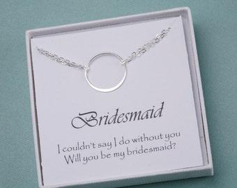 Karma bracelet,Circle Bracelet,Eternity love circle,Sisterhood,Wedding jewelry,Bridesmaid bracelet,jewelry with bridesmaid message card
