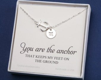 Hope Anchor Necklace with note card,sideways Anchor,navy wife gift,Monogram initial,Sailors Anchor,Wedding Jewelry,Bridesmaid gifts,strength